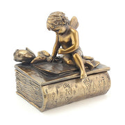 Bronze cherub figurine/box, alternative image, without quill