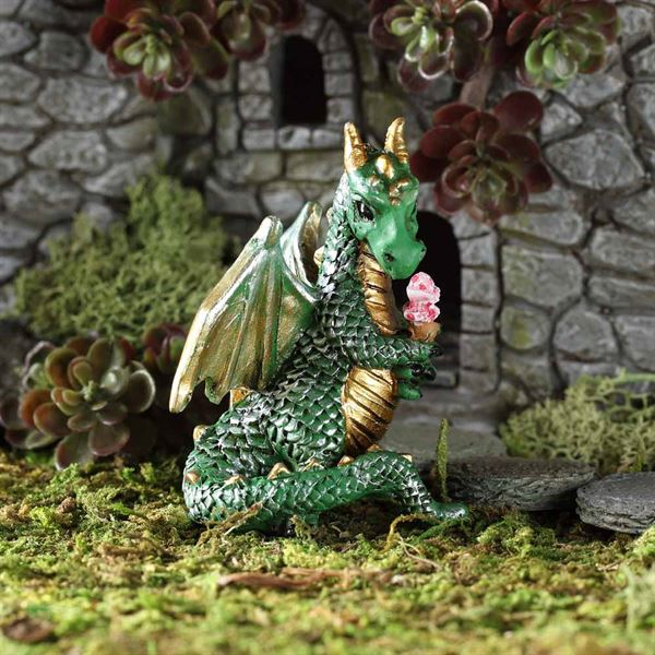 Fairy garden dragon eating ice cream
