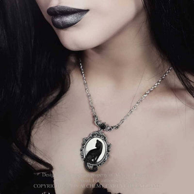 Model  wearing the feline felicity pendant