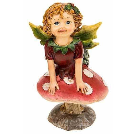 Toadstool Holly Fairy, Red Dress