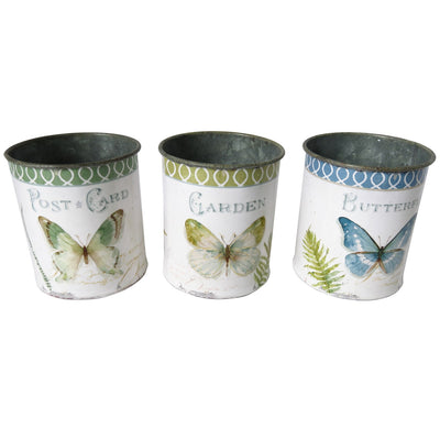 set of 3 butterfly metal pots