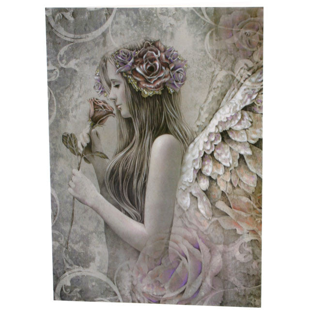Angel smelling a rose, Greetings card