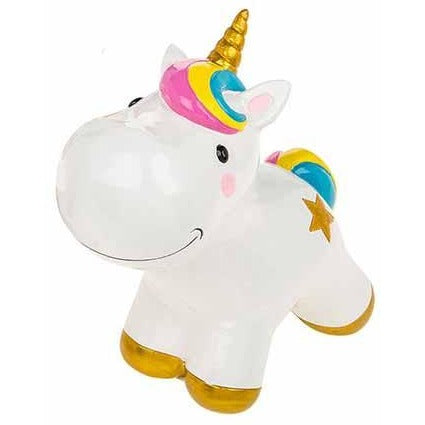 Unicorn money box, playful