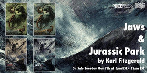 Jurassic Park Jaws Karl Fitzgerald Limited Edition Official Licensed Screen Print Alternative Movie Poster Art Vice Press Bottleneck Gallery Amblin Universal