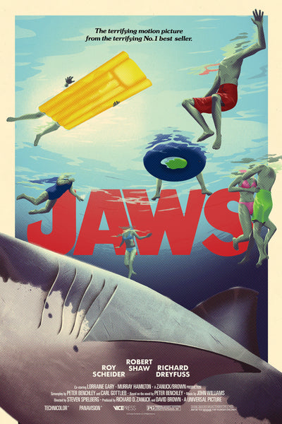 Jaws Amblin Universal Official Licensed Limited Edition Art Screen Print Movie Poster George Bletsis Vice Press Bottleneck Gallery