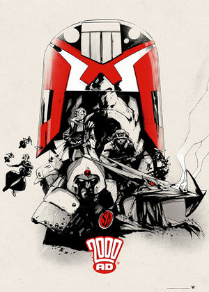Judge Dredd 2000 ad future shocks jock art print