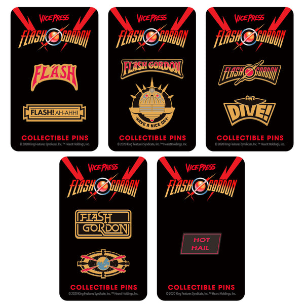 flash gordon enamel pin set florey vice press