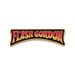 flash gordon comic logo enamel pin florey vice press