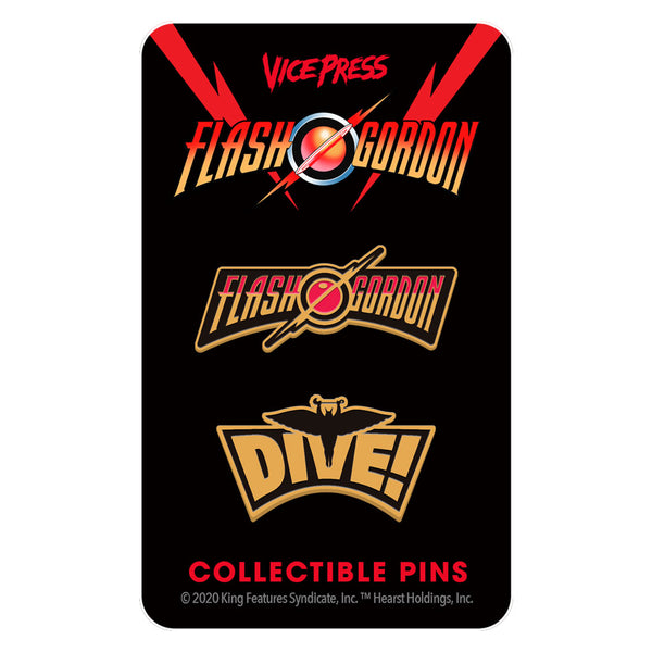 flash gordon dive enamel pin set florey vice press