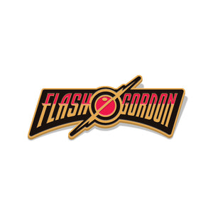 flash gordon film logo enamel pin florey vice press