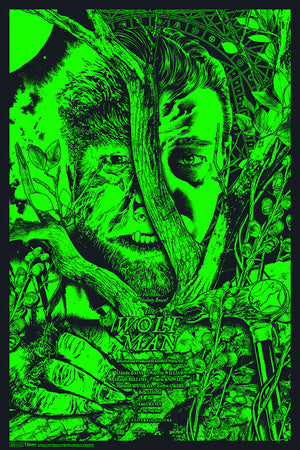 the wolf man anthony petrie glow in dark alternative movie poster
