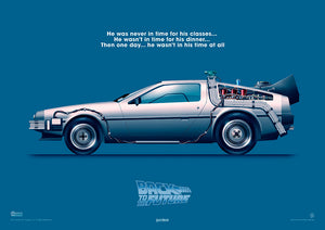 back to the future delorean art print rodrigo barraza