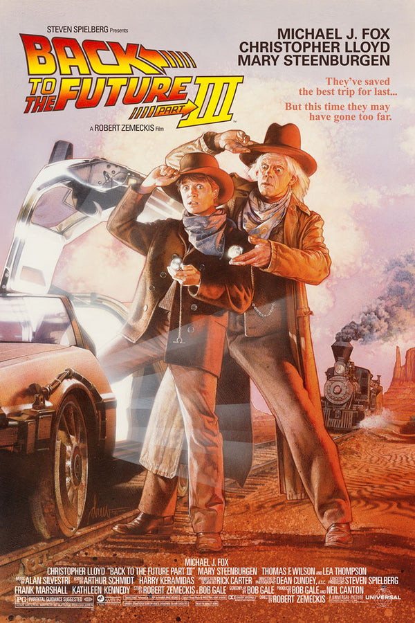 back to the future part 3 variant drew struzan film poster screen print