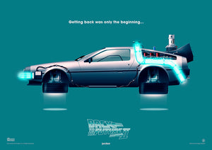 back to the future part II delorean art print rodrigo barraza