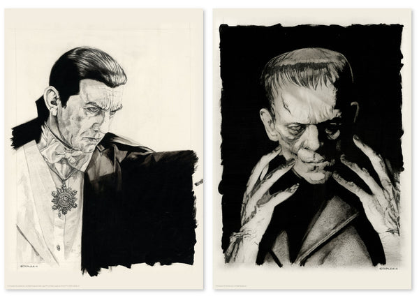 Dracula Frankenstein Original Art Portrait Print Greg Staples Universal Monsters Vice Press