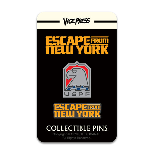 escape from new york logo uspf enamel pin set florey vice press