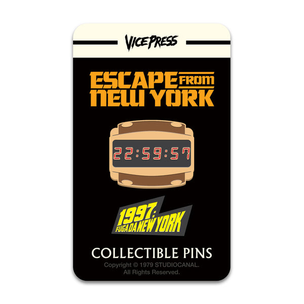 Escape From New York Countdown Watch Italian Logo Enamel Pin Badge Florey