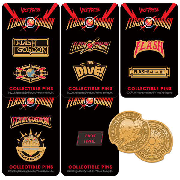 flash gordon enamel pin badge set coin florey vice press