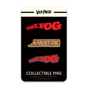 the fog logo 6 must die enamel pin set florey