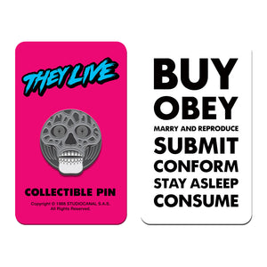 they live black and white alien enamel pin badge florey vice press