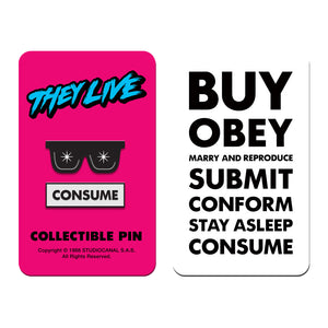 they live glasses consume enamel pin badge florey vice press