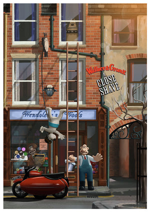 wallace & gromit a close shave andy fairhurst art print poster