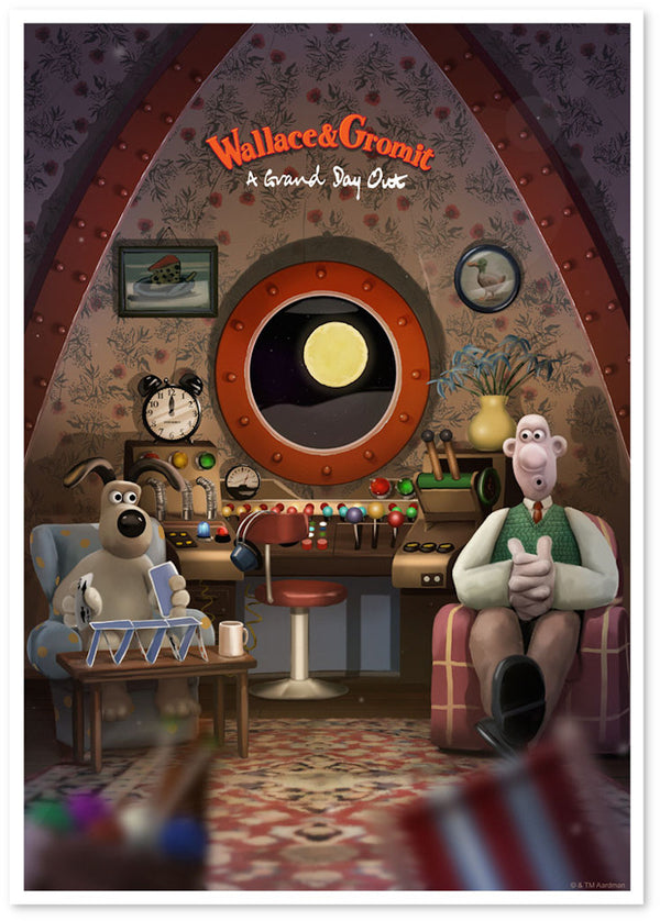 wallace and gromit a grand day out print by andy fairhurst shadow