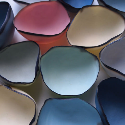 Coloured Porcelain Tea Light Shells - Pair