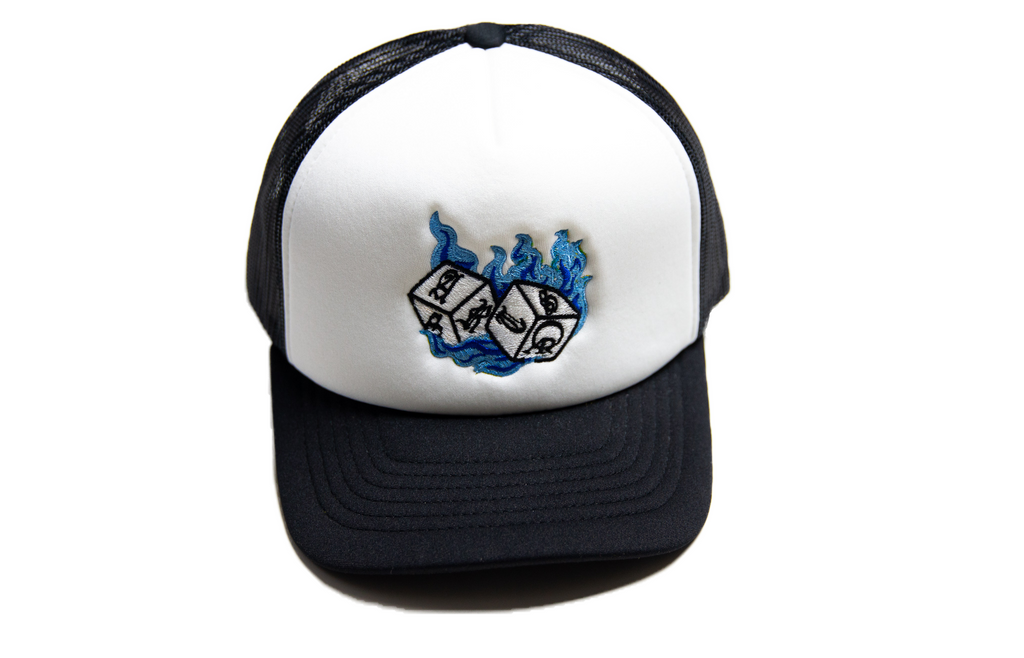 Hot Shooter Trucker Hat (White/Blue)
