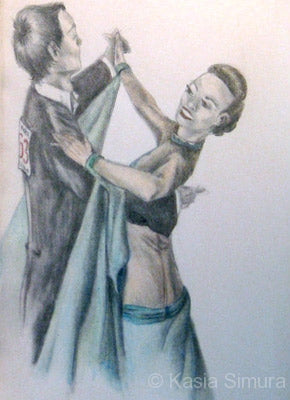 Waltzing Around - Colored Pencil study of Ballroom Dancers by Kasia Simura