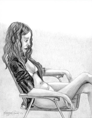 Sunbathing - Pencil drawing by Kasia Simura