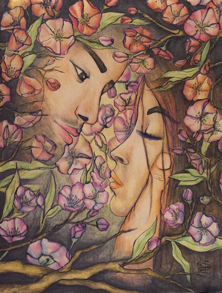 Cherry Love Blossoms - watercolor pencil drawing by Kasia Simura Lussier