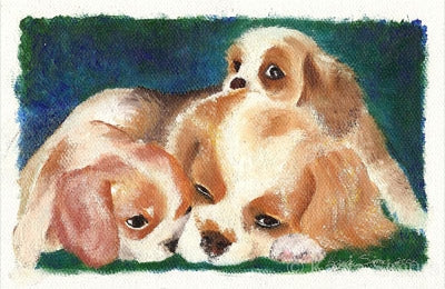 Mama and Her Puppies: Oil Painting by Kasia Simura