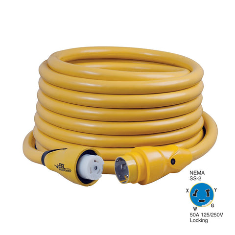 Marinco CS504-50 EEL 50A 125V/250V Shore Power Cordset - 50' - Yellow