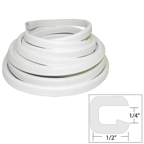 "TACO Flexible Vinyl Trim - 1/4"" Opening x 1/2""W x 25'L - White"