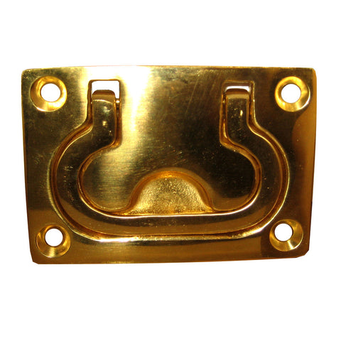 "Whitecap Flush Pull Ring - Polished Brass - 3"" x 2"""