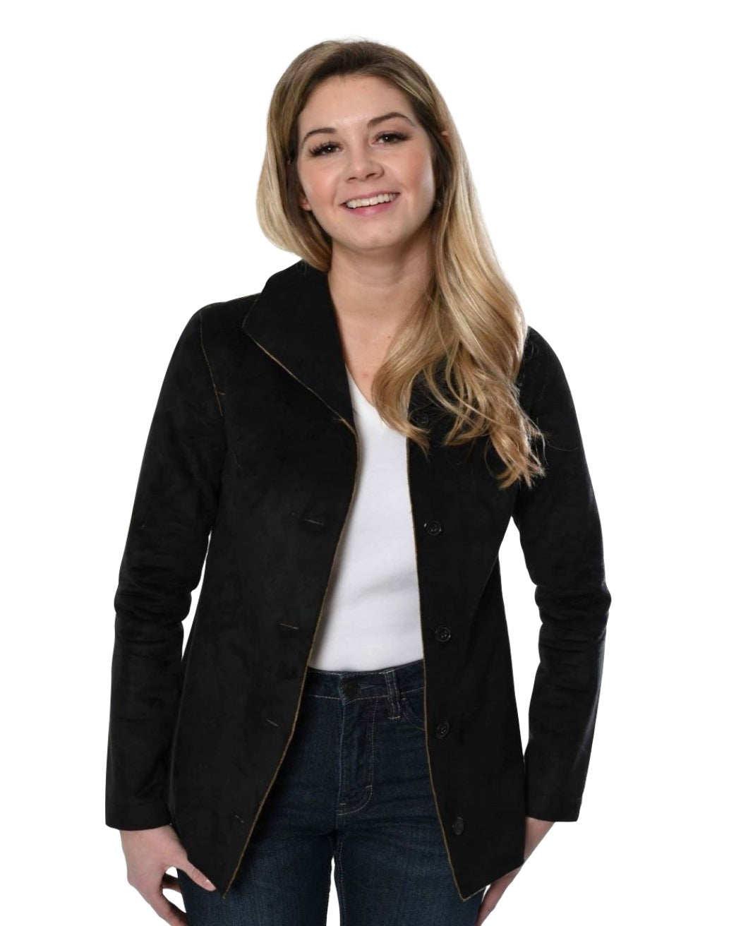 Suede button up jacket