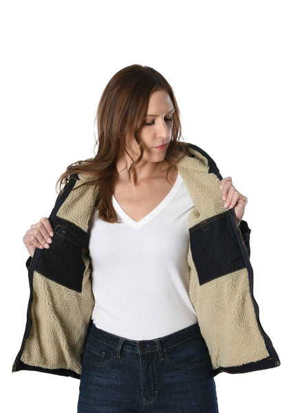 Women Sherpa Lined Hooded Jeans Jacket