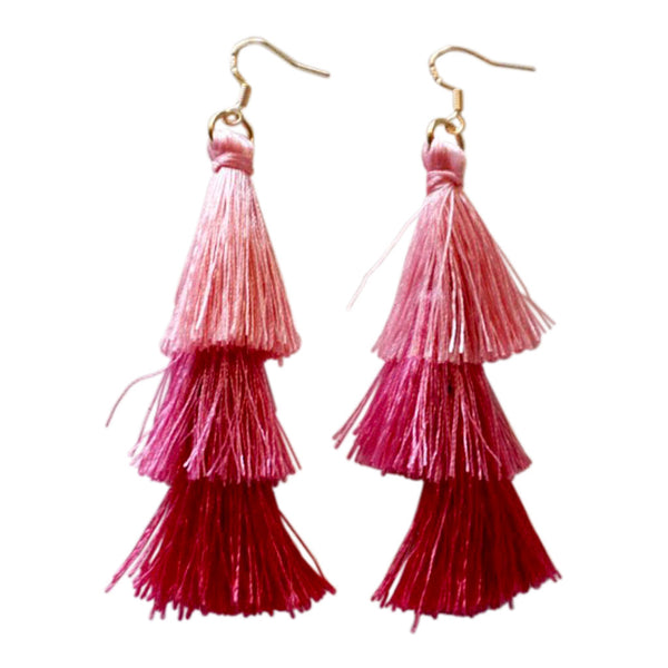 Tassel earrings pink