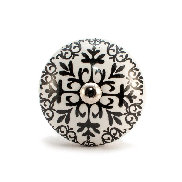 'Agincourt' White and Black design ceramic drawer knob