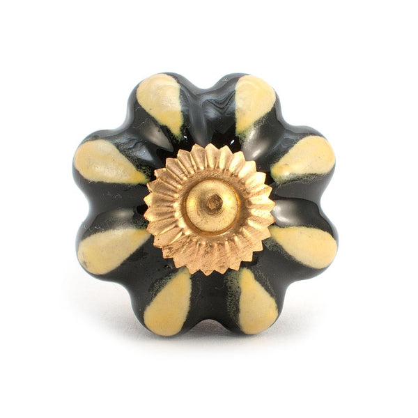 Melon Yellow and Black design ceramic drawer knob