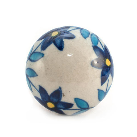 Autumn Blue Flower design ceramic drawer knob