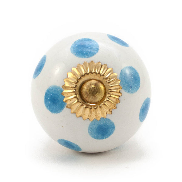 White and Sky Blue dot ceramic drawer knob