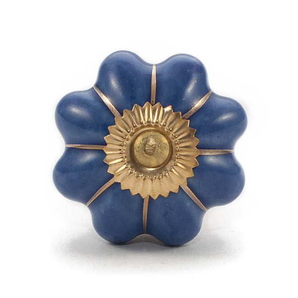 Dark Blue with Gold embellishment ceramic drawer knob