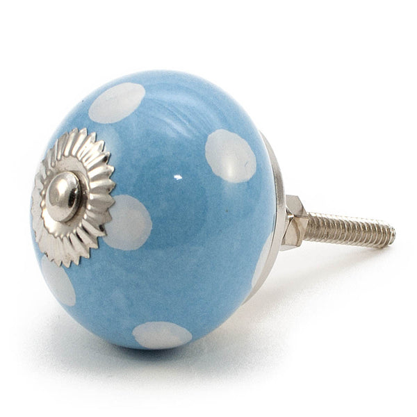 Pale Blue and White dot ceramic drawer knob