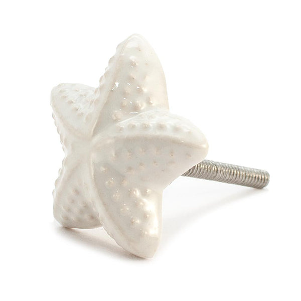 Cream Starfish design ceramic drawer knob