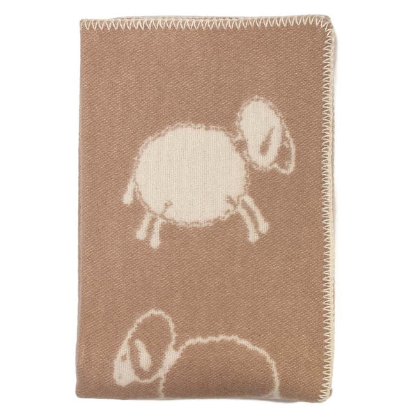 Child's Crazy Sheep Taupe Wool Blanket by JJ Textile