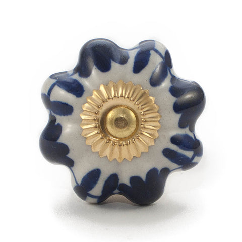 Antique Ivory & Royal Blue Floral Vine ceramic drawer knob