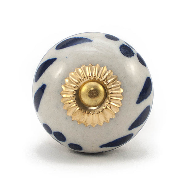 Antique Ivory & Royal Blue Leaf and Flower ceramic drawer knob