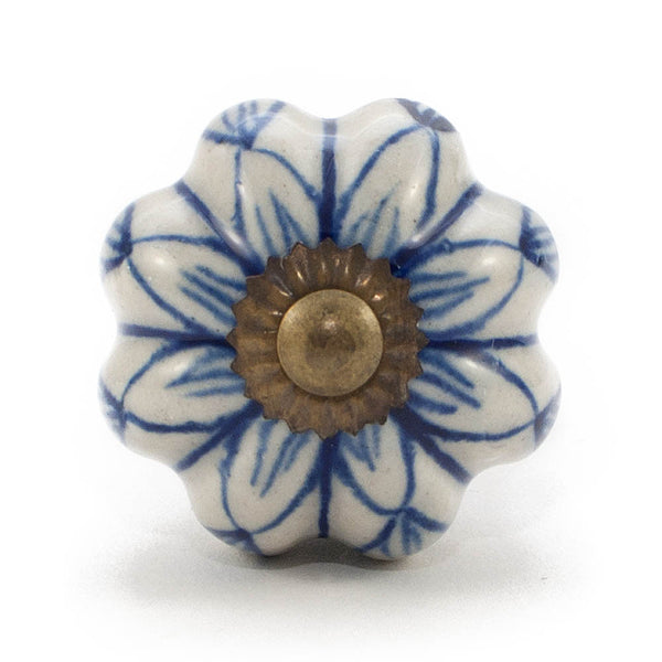 Ivory & China Blue Star ceramic drawer knob